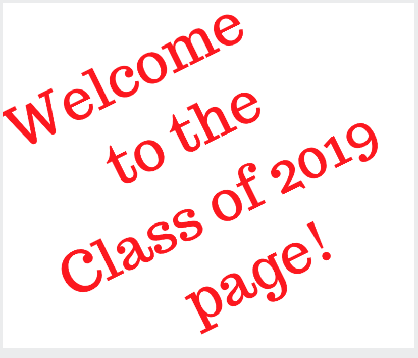 Welcome to the class of 2019 webpage