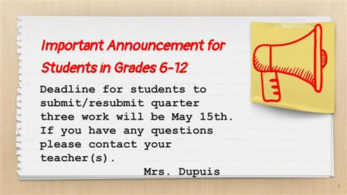 important announcement for middle and high school students